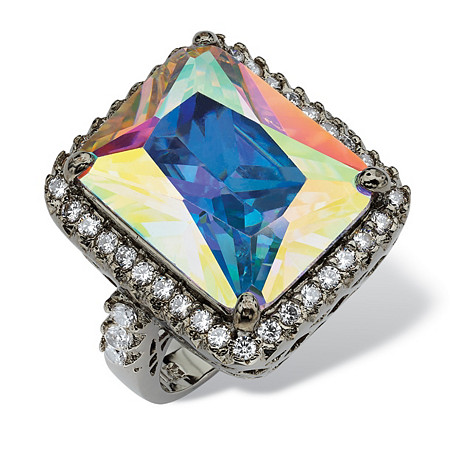 28.95 TCW Emerald-Cut Aurora Borealis Cubic Zirconia Black Rhodium-Plated Cutout Ring at PalmBeach Jewelry