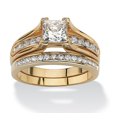 1.88 TCW Princess-Cut Cubic Zirconia Gold-Plated Bridal Engagement Ring Wedding Band Set at PalmBeach Jewelry