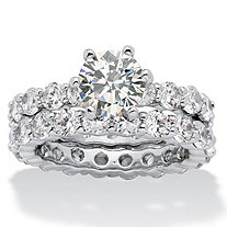 5.60 TCW Round Cubic Zirconia Platinum-Plated Bridal Engagement Ring Eternity Wedding Band Set