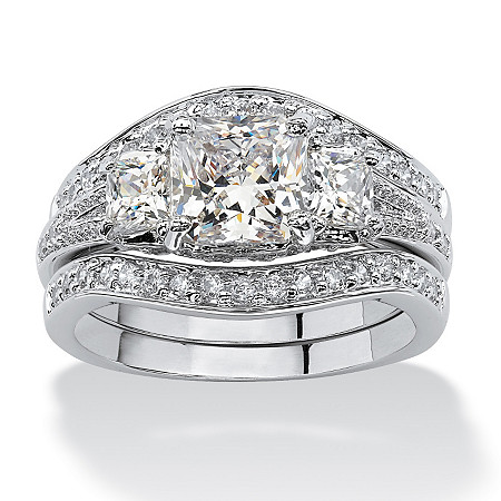 2.89 TCW Princess-Cut Cubic Zirconia Platinum-Plated Bridal Engagement Wedding Band Set at PalmBeach Jewelry