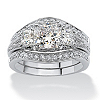 Related Item 2.89 TCW Princess-Cut Cubic Zirconia Platinum-Plated Bridal Engagement Wedding Band Set