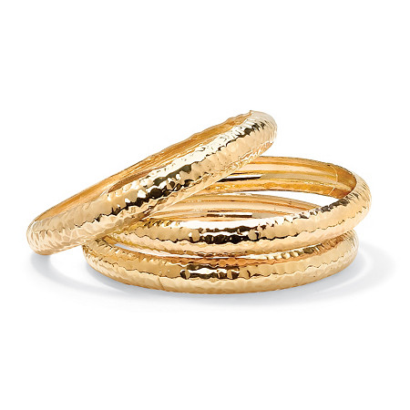Yellow Gold Tone Hammered 3-Piece Bangle Bracelet Set 8.5