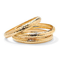 Yellow Gold Tone Hammered 3-Piece Bangle Bracelet Set 8.5""