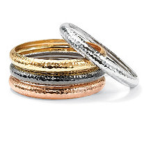 SETA JEWELRY Gold Tone, Silvertone, Rose Gold-Plated Black Rhodium-Plated Hammered 4-Piece Bangle Bracelet Set