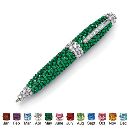 Round Birthstone and Crystal Silvertone Pen 4.5