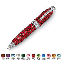 Round Birthstone and Crystal Silvertone Pen 4.5""
