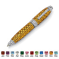 """Round Birthstone and Crystal Silvertone Pen 4.5"""""""