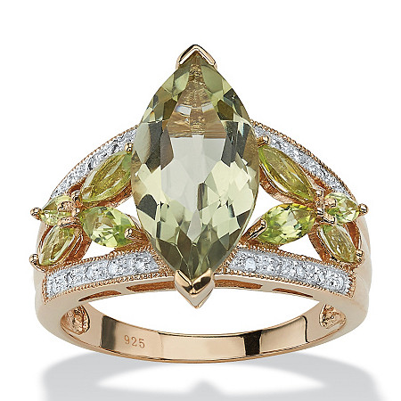 4.83 TCW Marquise-Cut Genuine Green Amethyst and Diamond Ring in 18k Gold over Sterling Silver at PalmBeach Jewelry