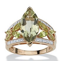 4.83 TCW Marquise-Cut Genuine Green Amethyst and Diamond Ring in 18k Gold over Sterling Silver