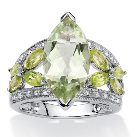 4.83 TCW Marquise-Cut Green Genuine Amethyst and Genuine Peridot Platinum over Sterling Silver Ring at PalmBeach Jewelry