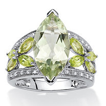 4.83 TCW Marquise-Cut Green Genuine Amethyst and Genuine Peridot Platinum over Sterling Silver Ring