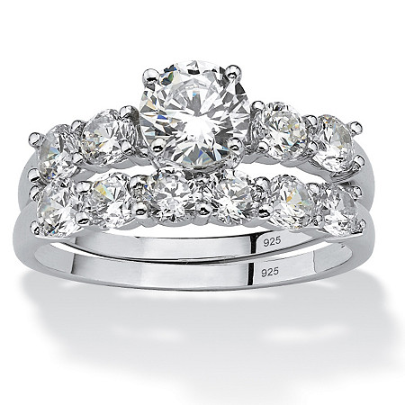 2.50 TCW Round Cubic Zirconia Platinum over Sterling Silver Bridal Engagement Ring Wedding Band Set at PalmBeach Jewelry