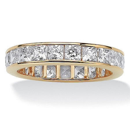 5.29 TCW Princess-Cut Cubic Zirconia Eternity Channel Ring in 18k Gold over Sterling Silver at PalmBeach Jewelry