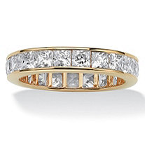 SETA JEWELRY 5.29 TCW Princess-Cut Cubic Zirconia Eternity Channel Ring in 18k Gold over Sterling Silver