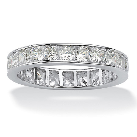 5.29 TCW Princess-Cut Cubic Zirconia Platinum over Sterling Silver Channel-Set Eternity Band at PalmBeach Jewelry