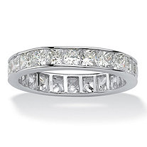 SETA JEWELRY 5.29 TCW Princess-Cut Cubic Zirconia Platinum over Sterling Silver Channel-Set Eternity Band