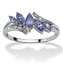 .76 TCW Marquise-Cut Genuine Purple Tanzanite Diamond Accent Platinum over .925 Silver Ring