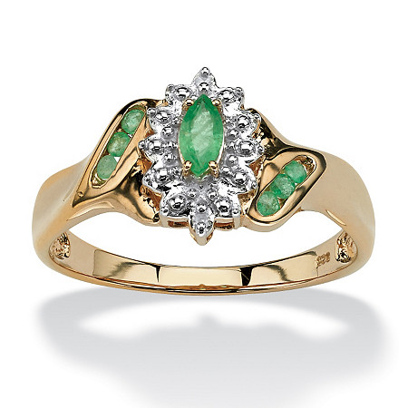 .37 TCW Marquise-Cut and Round Genuine Emerald Diamond Accent 18k Gold over Sterling Silver Ring at PalmBeach Jewelry