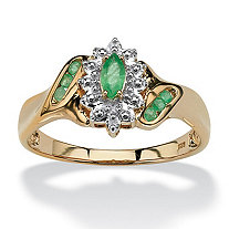 SETA JEWELRY .37 TCW Marquise-Cut and Round Genuine Emerald Diamond Accent 18k Gold over Sterling Silver Ring