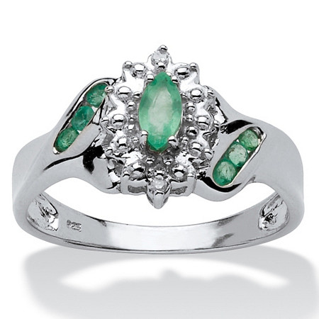 .37 TCW Marquise-Cut and Round Genuine Emerald & Diamond Accent Platinum over Sterling Silver Ring at PalmBeach Jewelry