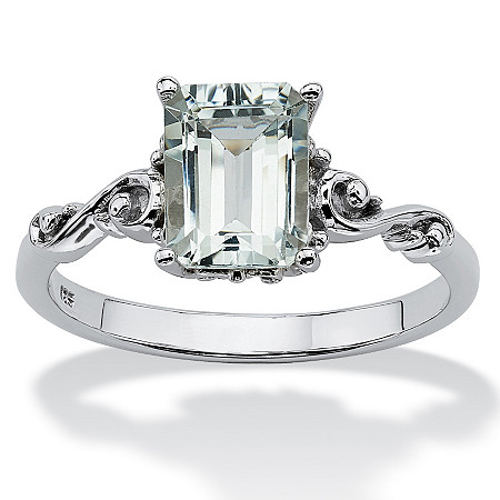 1.40 TCW Emerald-Cut Genuine Aquamarine Platinum over Sterling Silver Scrolling Shank Ring at PalmBeach Jewelry