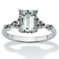 1.40 TCW Emerald-Cut Genuine Aquamarine Platinum over Sterling Silver Scrolling Shank Ring