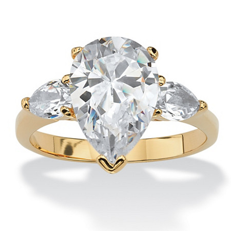 4.89 TCW Pear-Cut Cubic Zirconia Three-Stone Bridal Engagement Ring 18k Gold-Plated at PalmBeach Jewelry