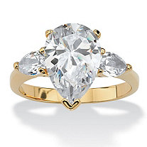 SETA JEWELRY 4.89 TCW Pear-Cut Cubic Zirconia Three-Stone Bridal Engagement Ring 18k Gold-Plated