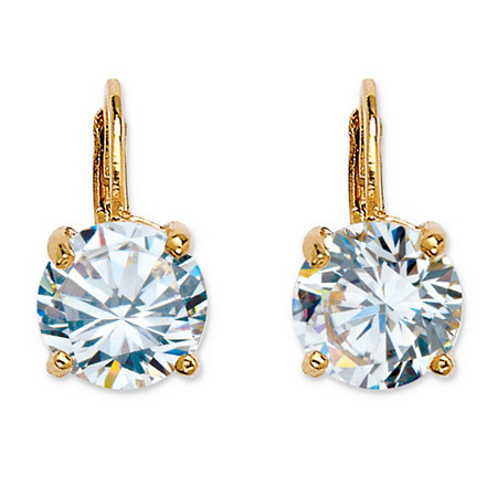 4 TCW Round Cubic Zirconia Drop Earrings 14k Gold-Plated at PalmBeach Jewelry