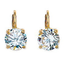 SETA JEWELRY 4 TCW Round Cubic Zirconia Drop Earrings 14k Gold-Plated