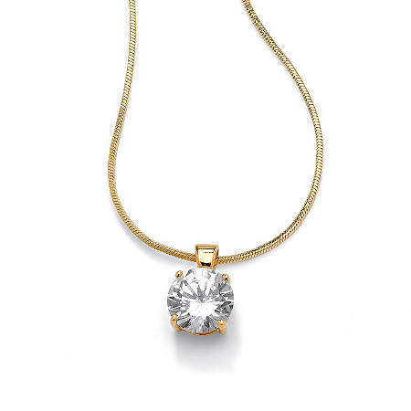 4 TCW Round Solitaire Cubic Zirconia Pendant Necklace 14k Yellow Gold-Plated 16