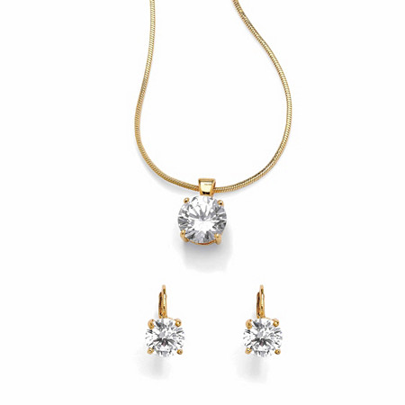 4 TCW Round Cubic Zirconia 14k Yellow Gold-Plated Solitaire Pendant and Earrings Set at PalmBeach Jewelry