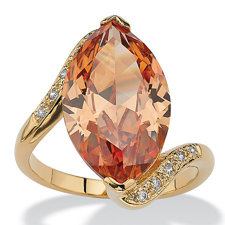 8.04 TCW Marquise-Cut Champagne-Color Cubic Zirconia Cocktail Ring 18k Gold-Plated at PalmBeach Jewelry