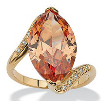 SETA JEWELRY 8.04 TCW Marquise-Cut Champagne-Color Cubic Zirconia Cocktail Ring 18k Gold-Plated