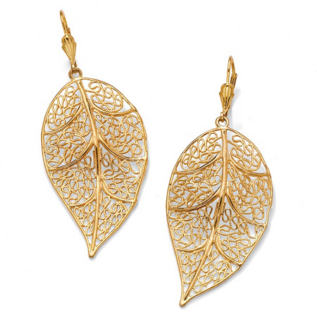 Filigree Leaf Drop Earrings in Yellow Gold Tone at PalmBeach Jewelry