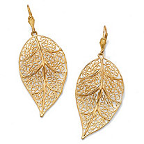 SETA JEWELRY Filigree Leaf Drop Earrings in Yellow Gold Tone