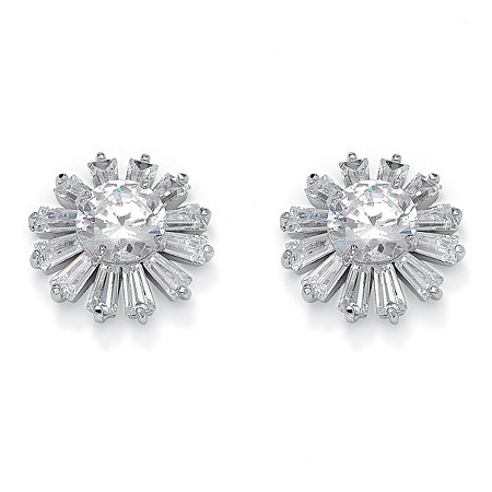 Round and Baguette-Cut Crystal Flower Stud Earrings in Silvertone at PalmBeach Jewelry