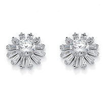 Round and Baguette-Cut Crystal Flower Stud Earrings in Silvertone