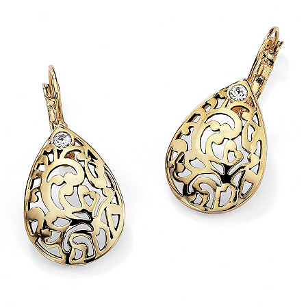 Round Crystal Accent 14k Gold-Plated Filigree Pear-Shaped Drop Earrings at PalmBeach Jewelry