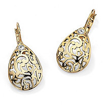 SETA JEWELRY Round Crystal Accent 14k Gold-Plated Filigree Pear-Shaped Drop Earrings