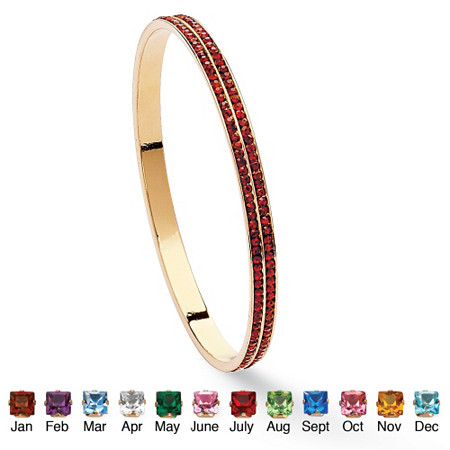 Birthstone Stackable Double Row Eternity Bracelet in Yellow Gold Tone at PalmBeach Jewelry