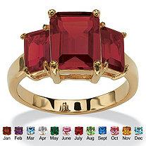 Emerald-Cut Birthstone 3-Stone Ring 18k Gold-Plated
