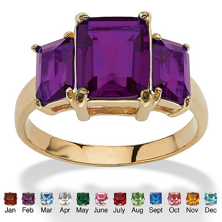 Emerald-Cut Birthstone 3-Stone Ring 18k Gold-Plated at PalmBeach Jewelry