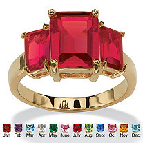Emerald-Cut Birthstone 3-Stone Ring 18k Gold-Plated