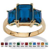 Emerald-Cut Triple Birthstone Ring 18k Gold-Plated