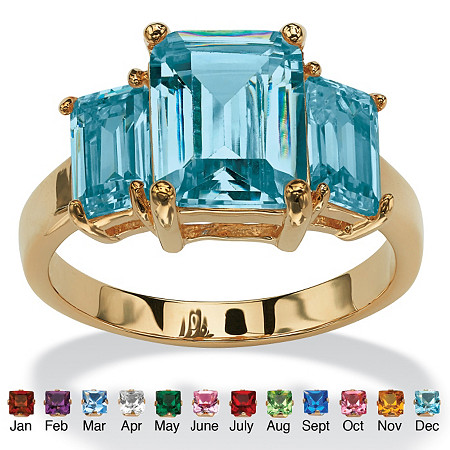 Emerald-Cut Simulated Birthstone 3-Stone Ring 18k Gold-Plated at PalmBeach Jewelry