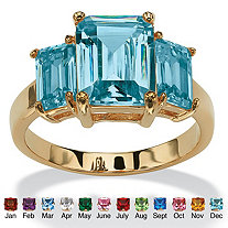 Emerald-Cut Simulated Birthstone 3-Stone Ring 18k Gold-Plated