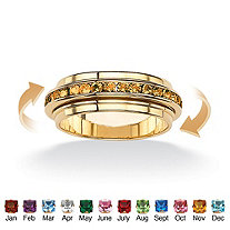 Round Birthstone 14k Gold-Plated Eternity Spinner Band