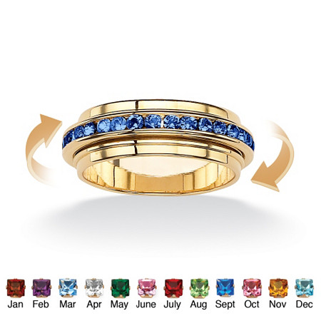 Round Birthstone 14k Gold-Plated Eternity Spinner Band at PalmBeach Jewelry