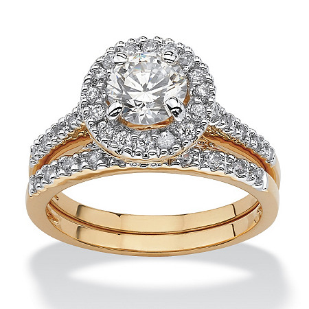 1.79 TCW Round Cubic Zirconia 18k Gold-Plated Bridal Engagement Ring Wedding Band Set at PalmBeach Jewelry
